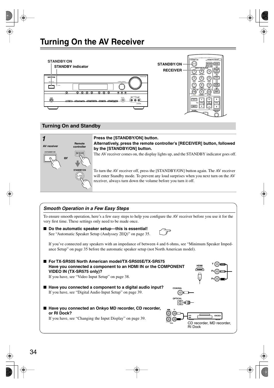 turning on the av receiver turning on and standby turning on rh manualsdir com Onkyo TX- 8050 Onkyo TX 8511 Manual
