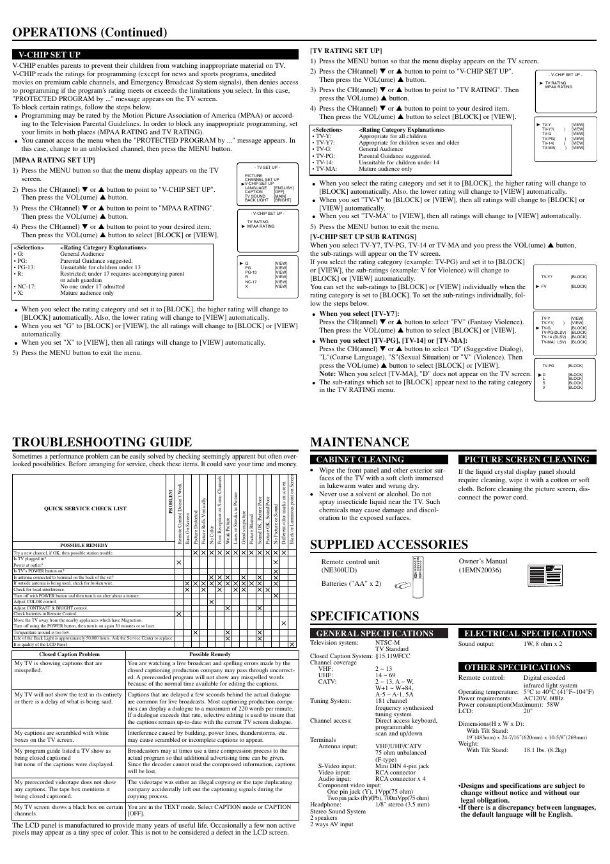 operations continued owner s manual general specifications rh manualsdir com Sylvania TV Buttons Sylvania TV Buttons