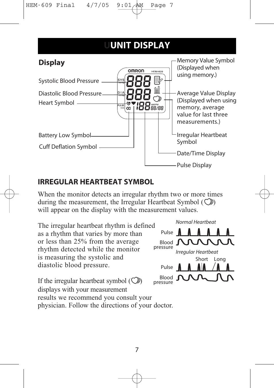 Uunit Display Display Irregular Heartbeat Symbol Omron