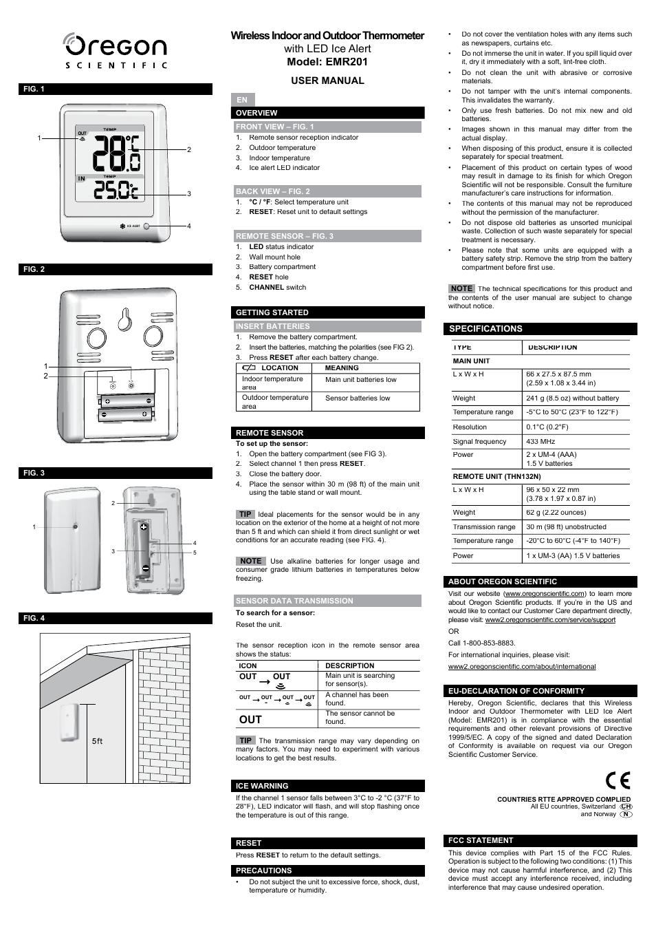 Oregon Scientific Emr201 User Manual