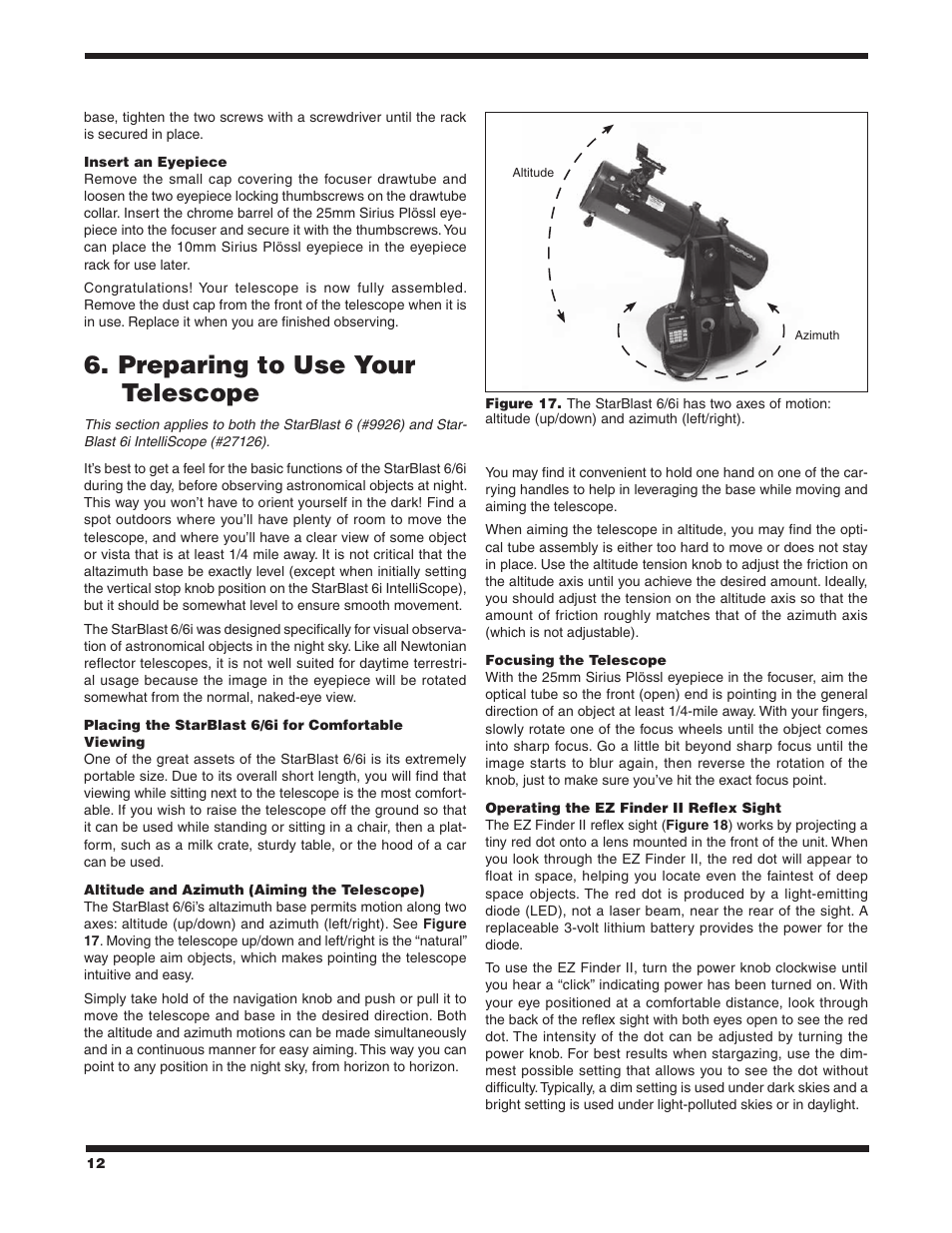 Preparing to use your telescope | Orion STARBLAST 6/6I User Manual | Page 12