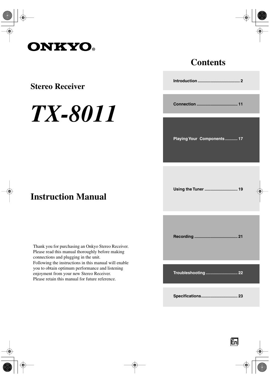 onkyo tx 8011 user manual 24 pages rh manualsdir com onkyo user manual download onkyo m 501 owner's manual