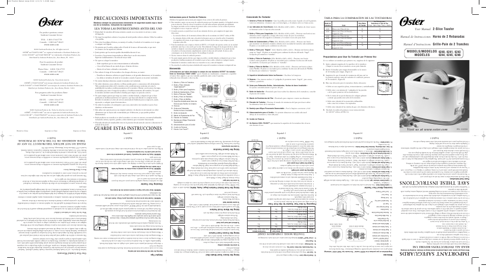 Oster 6246 User Manual | 8 pages | Also for: 6241, 6243 6244, 6245 ...