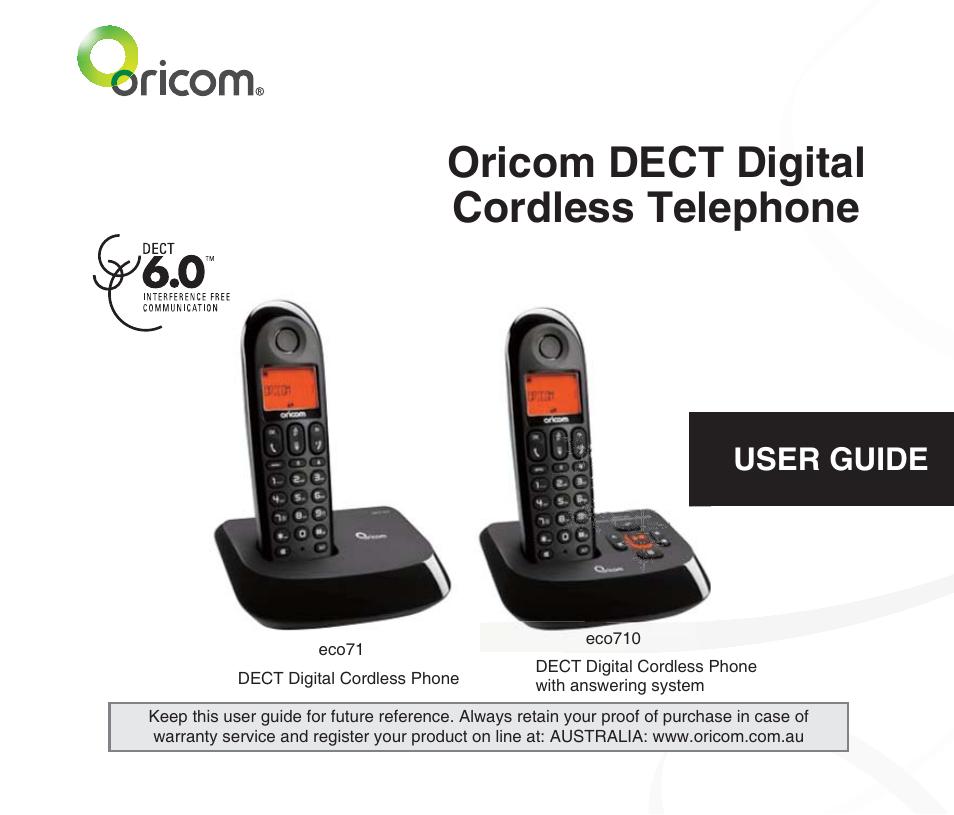 oricom dect digital cordless phone eco71 user manual 40 pages rh manualsdir com Telephone User Manuals 3.5 Monster Manual 2
