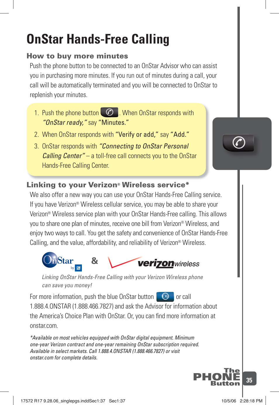 Onstar hands-free calling, How to buy more minutes, Linking