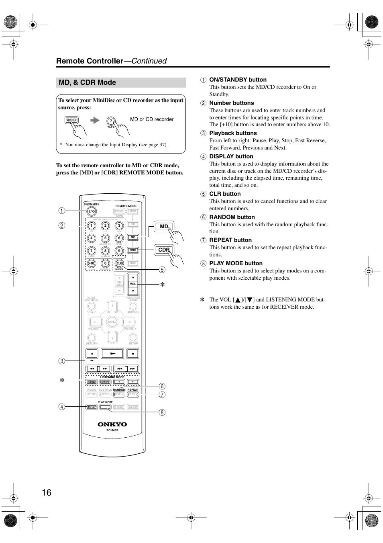 md cdr mode remote controller continued onkyo ht s4100 user rh manualsdir com