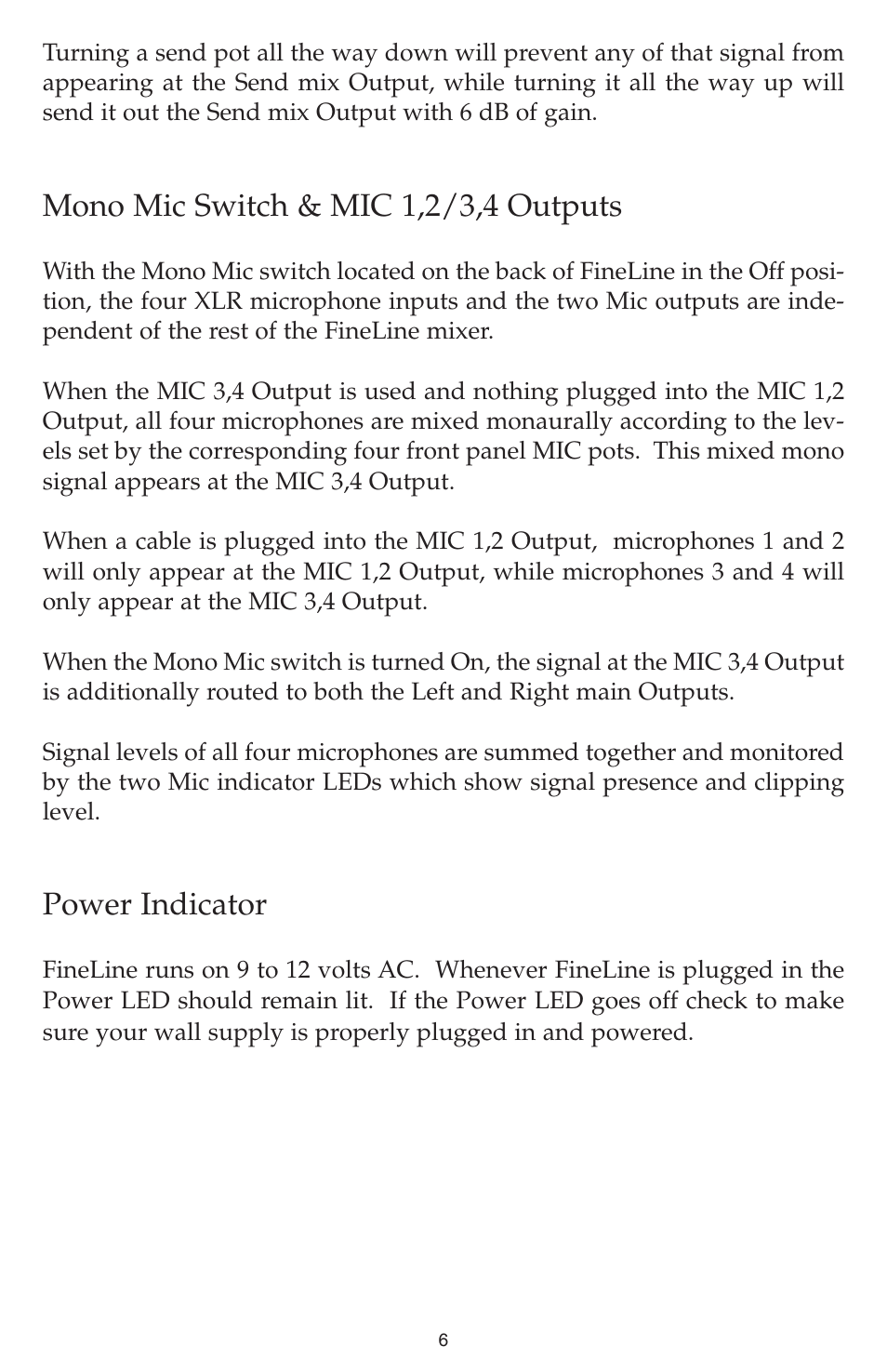 Mono Mic Switch 12 34 Outputs Power Indicator M Audio 3 Way Both Down Fineline User Manual Page 6 16