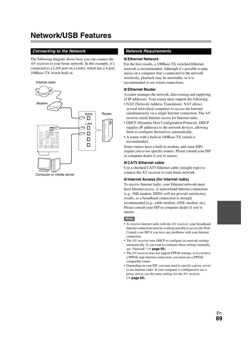 Network/usb features, Network | Onkyo TX-NR709 User Manual | Page 89