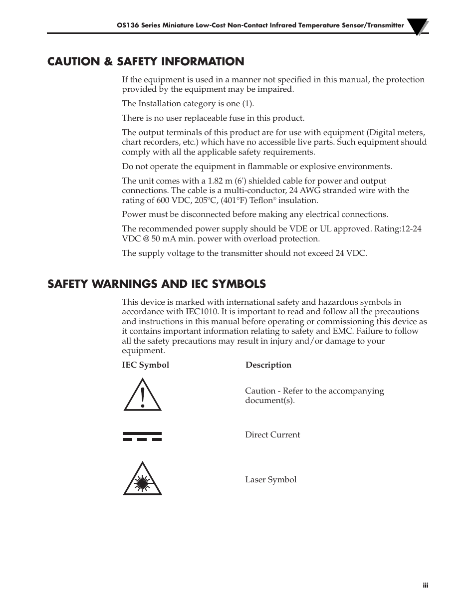 Caution Safety Information Safety Warnings And Iec Symbols