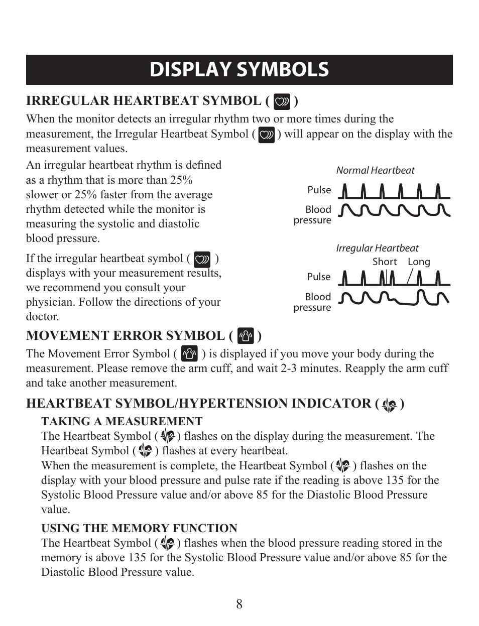 Display Symbols Irregular Heartbeat Symbol Heartbeat Symbol