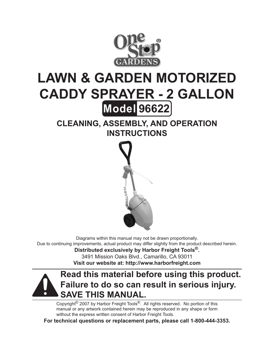 One Stop Gardens Caddy Sprayer 96622 User Manual 10 Pages