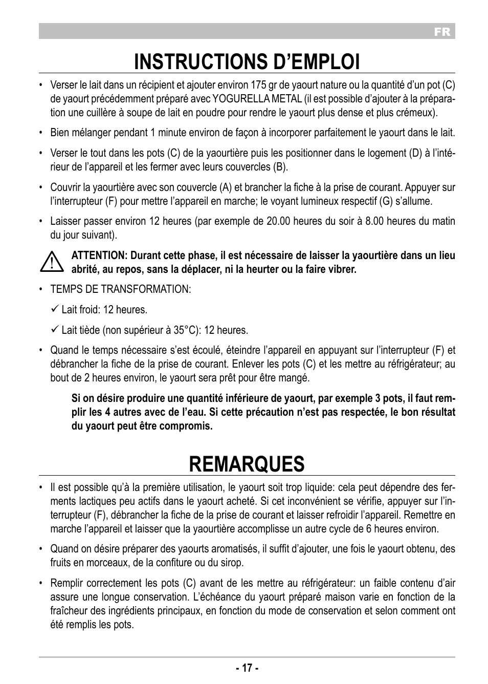 Instructions D U2019emploi  Remarques