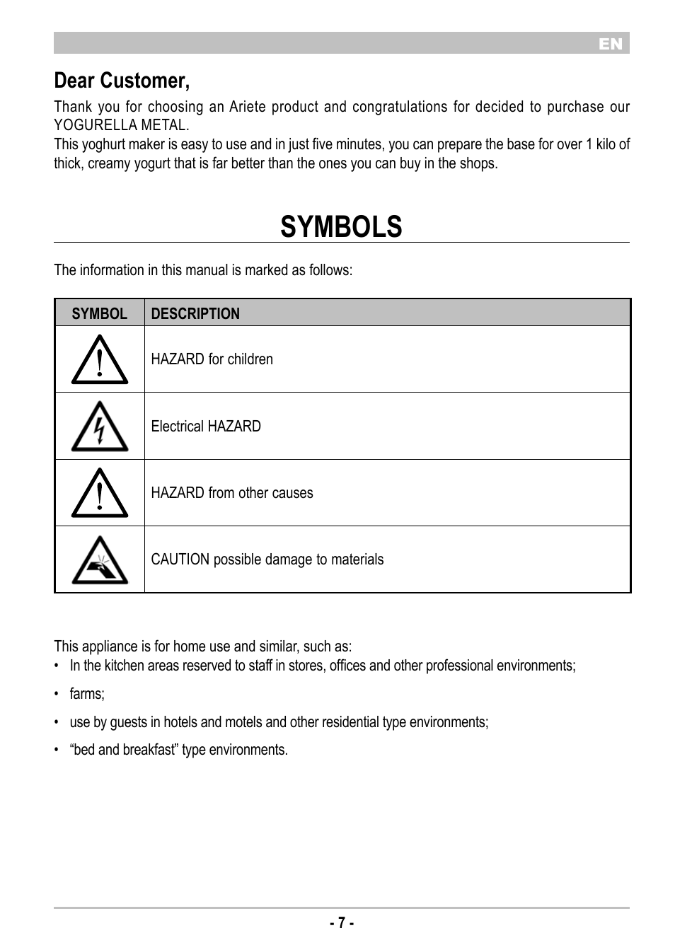 Symbols Dear Customer Ariete Yogurella Metal 620 User Manual