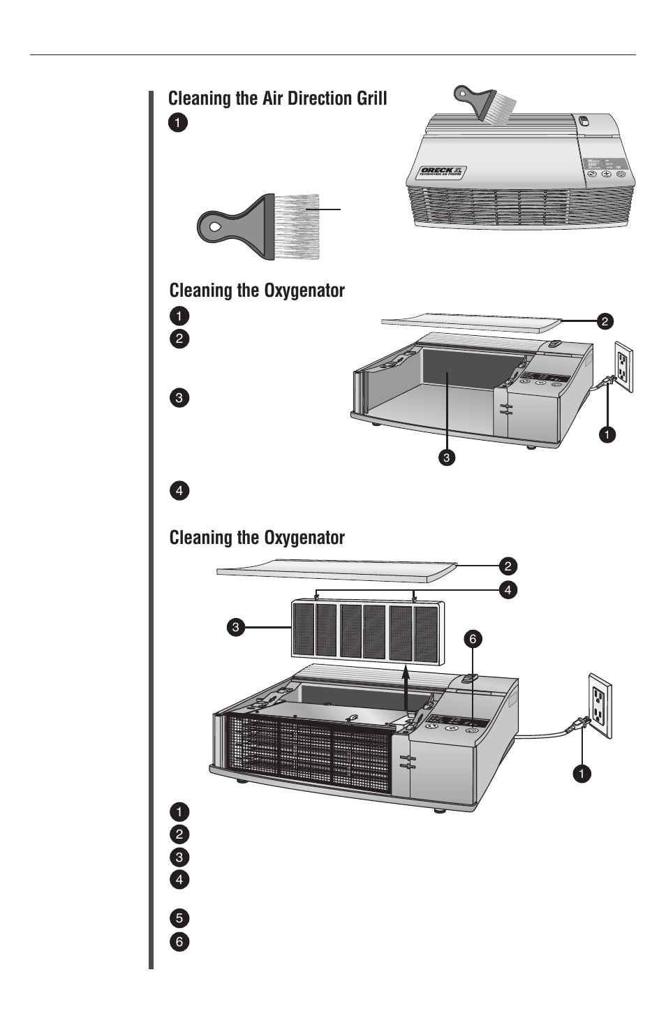 Maintenance 10 Cleaning The Air Direction Grill Oxygenator Oreck Xl Рrofessional Purifier Airp Series User Manual Page 36