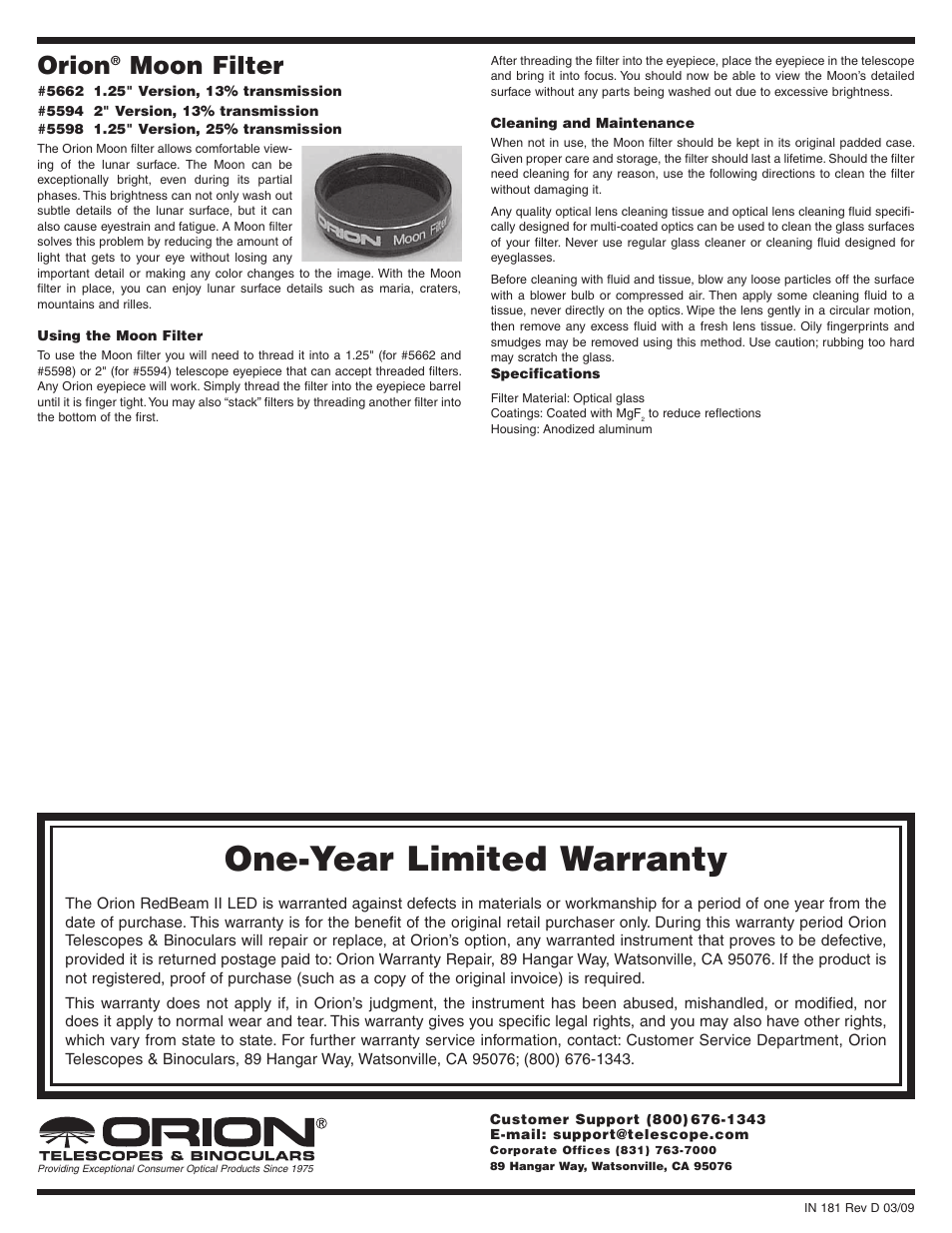 Orion 5662 User Manual | 1 page