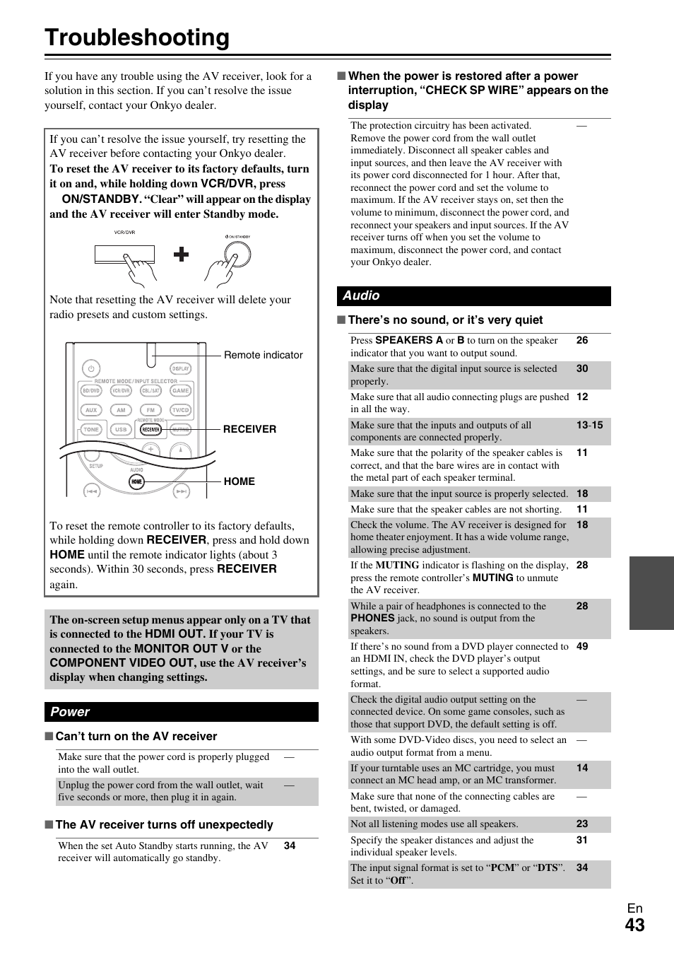 Appendix, Troubleshooting | Onkyo TX-SR309 User Manual | Page 43 / 56