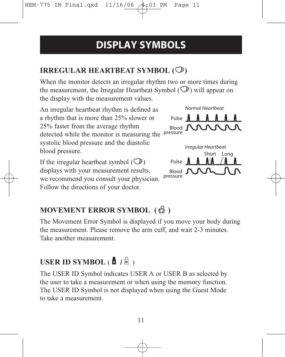 Display Symbols Irregular Heartbeat Symbol Movement Error Symbol