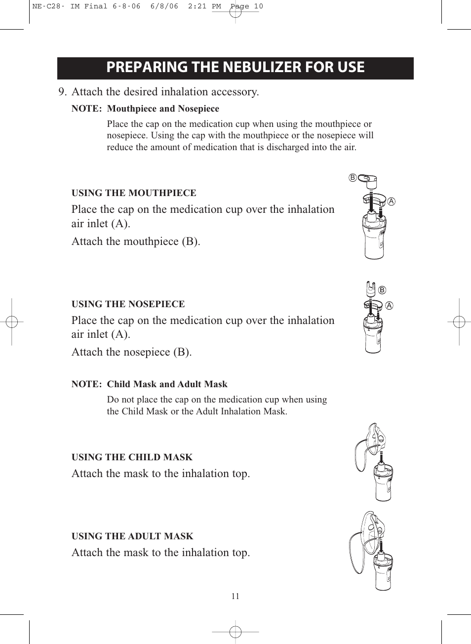 Preparing The Nebulizer For Use Omron Healthcare Compair Ne C28 User Manual Page 11 112