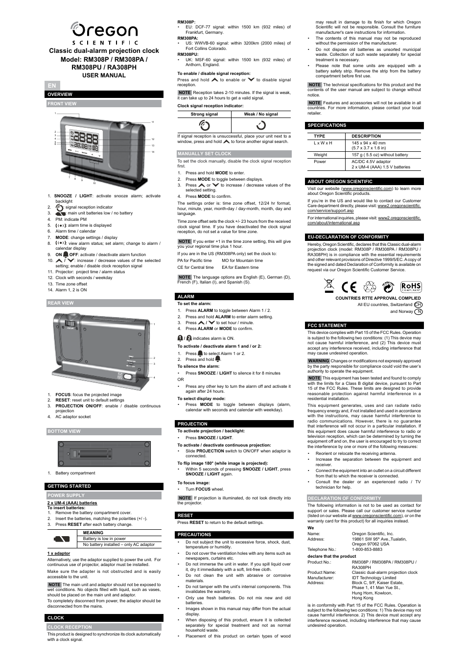 oregon scientific ra308ph user manual 8 pages original mode rh manualsdir com oregon scientific bar206 user manual oregon scientific bar938hg user manual