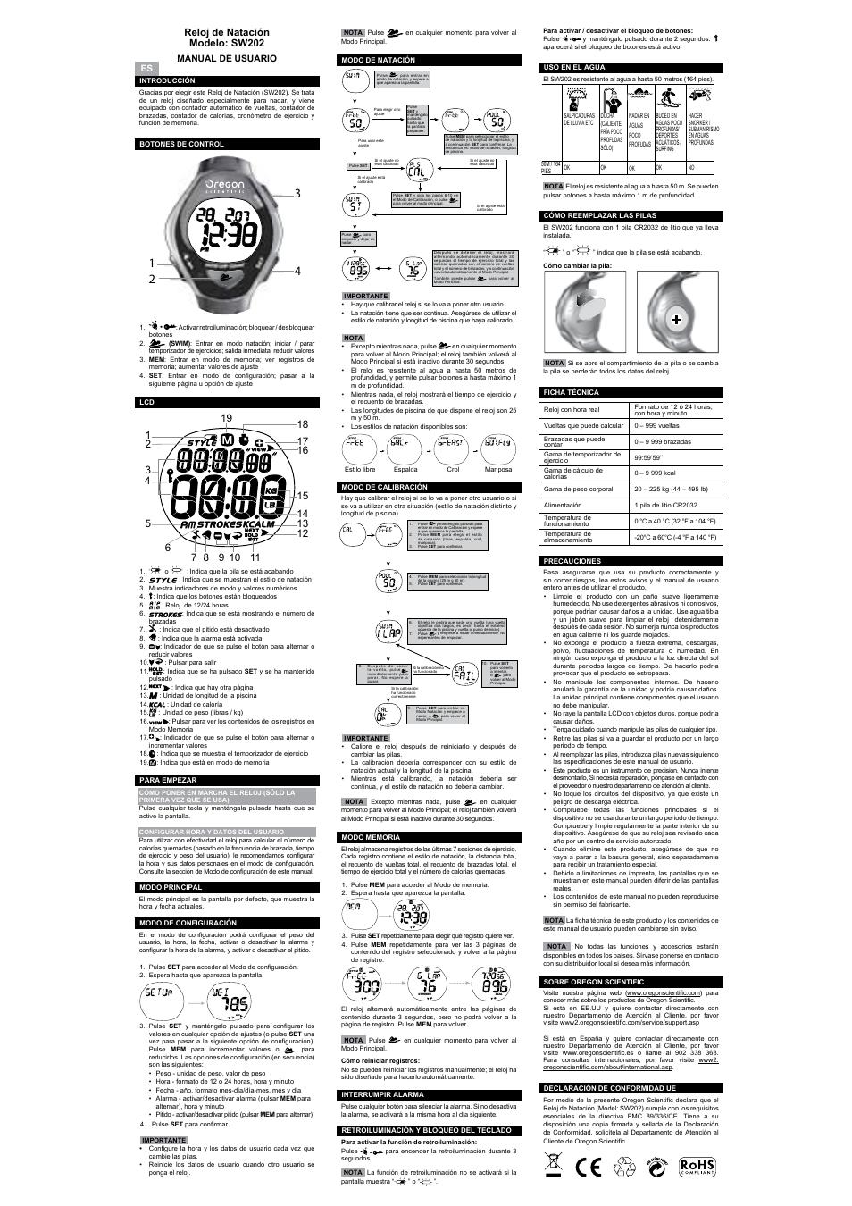 Natação De Natación Sw202 Reloj ModeloSw202Relógio 7Yb6mIfygv
