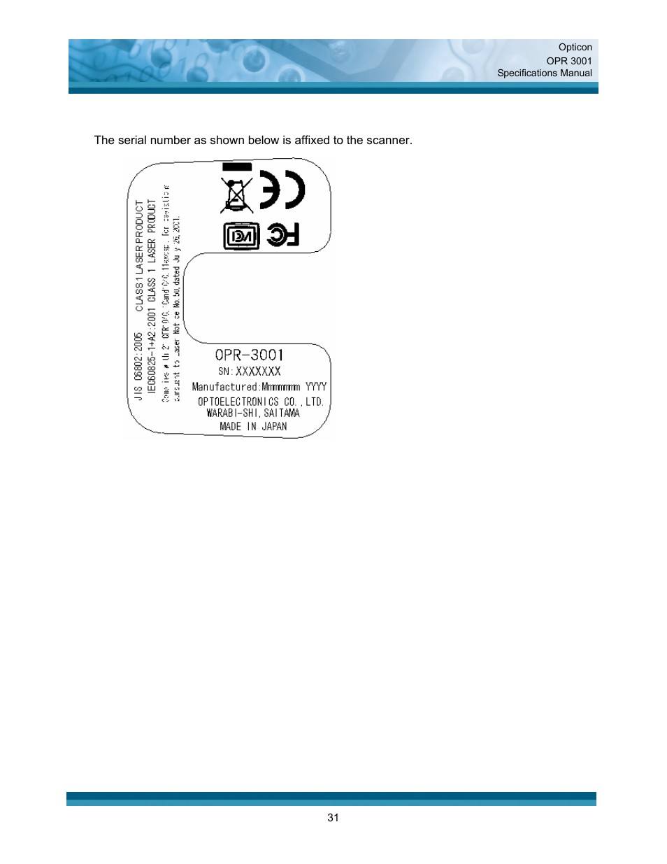 Opticon OPR 3001 User Manual