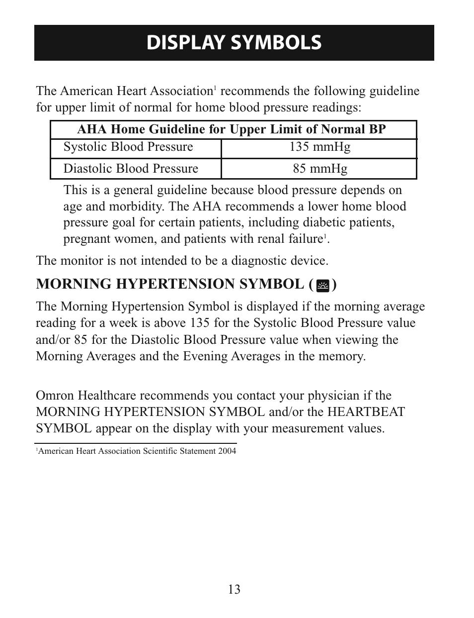 Display Symbols Morning Hypertension Symbol Omron Healthcare
