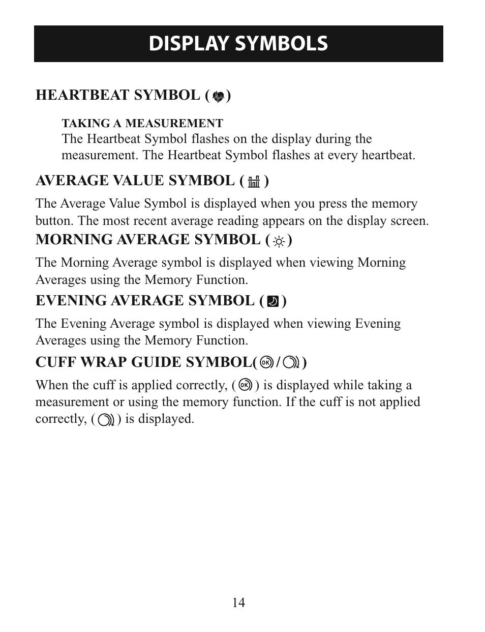 Display Symbols Omron Healthcare Intellisense Bp760 User Manual