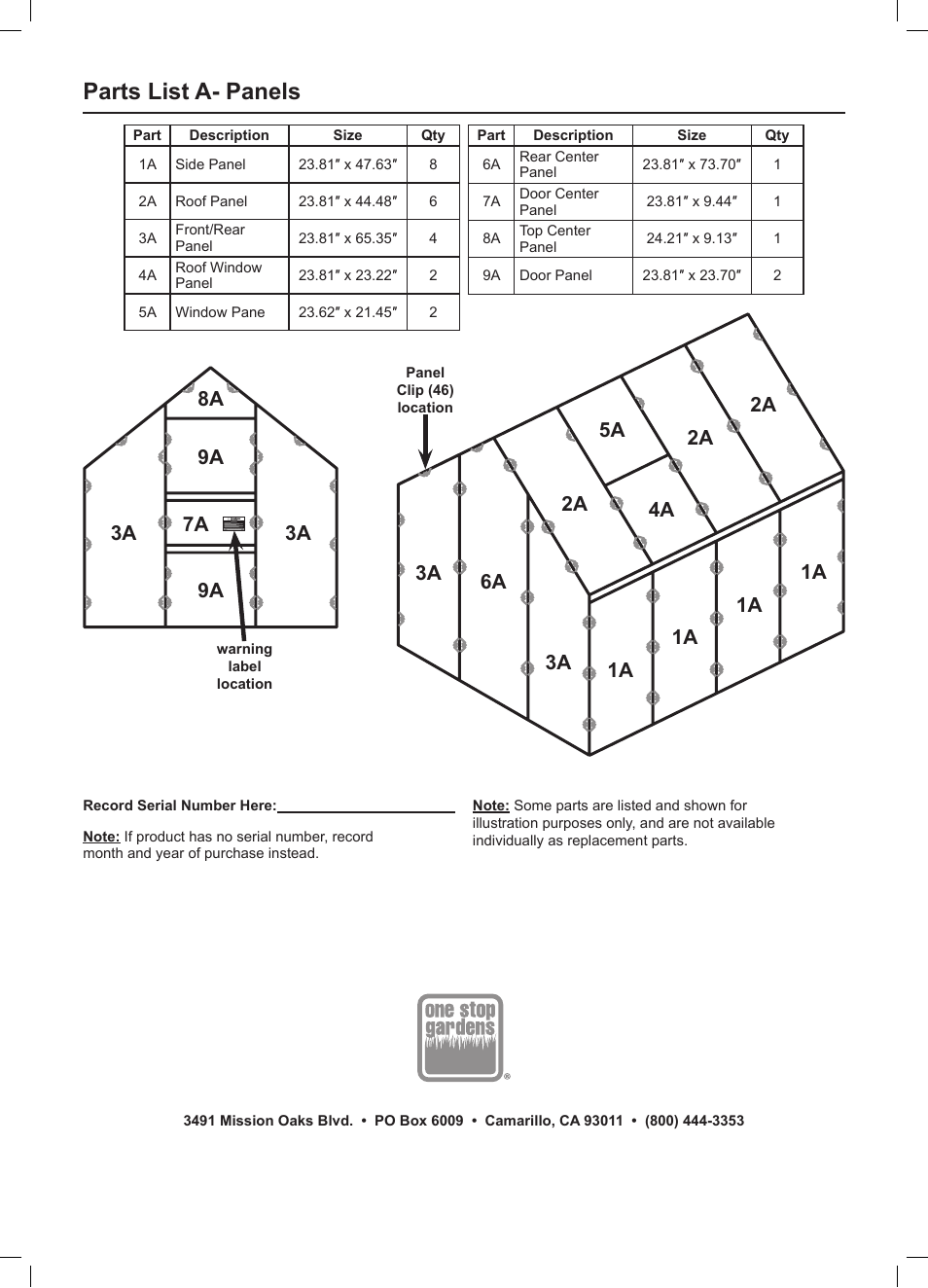 Parts list a panels One Stop Gardens Greenhouse 44712 User