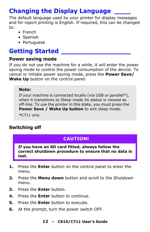 changing the display language getting started power saving mode rh manualsdir com Oki C610 Driver Oki C610 Laser Printer
