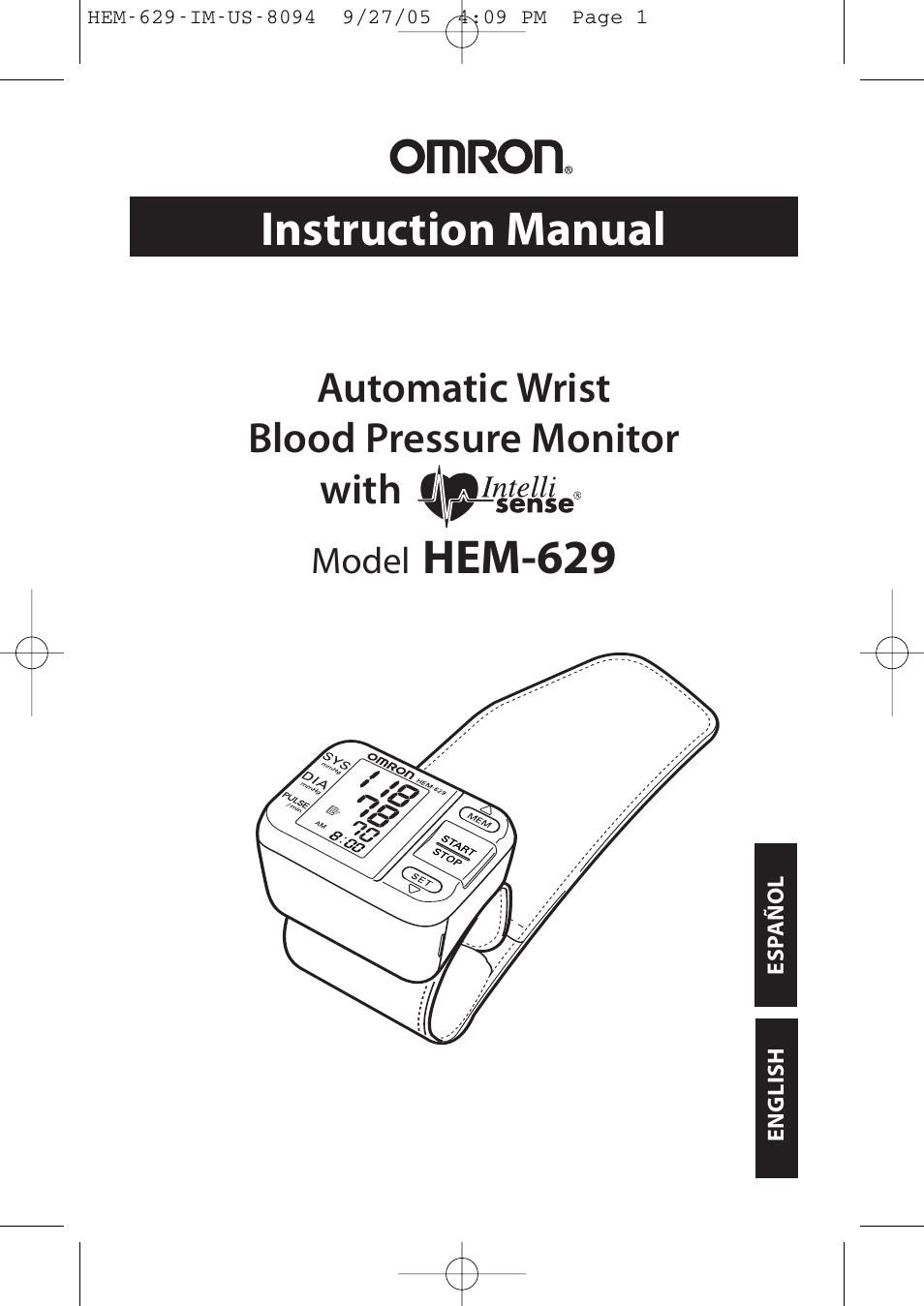 Omron hem-629 instruction manual pdf download.