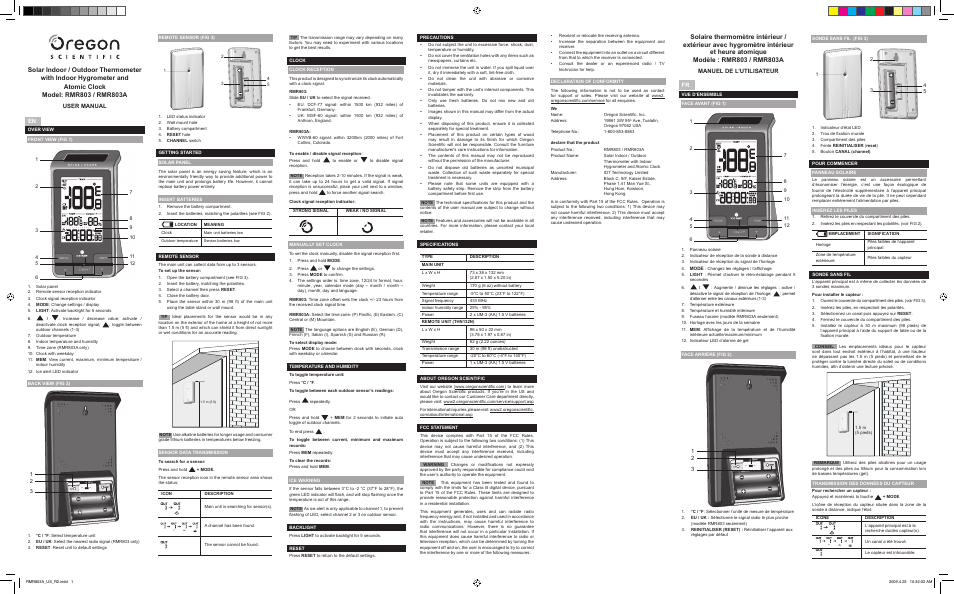 Oregon Scientific Rmr803a User Manual 2 Pages