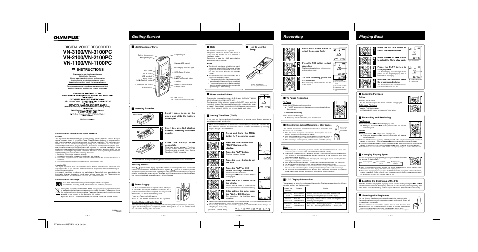 olympus vn 3100 en user manual 2 pages also for vn olympus voice recorder vn-3100pc manual olympus vn-3100pc manual en español