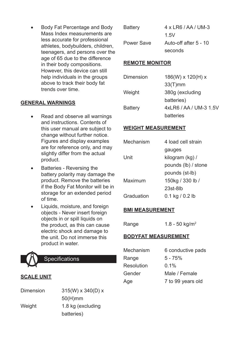 Oregon Scientific Body Fat Monitor With Wireless Remote Display GR101 User Manual
