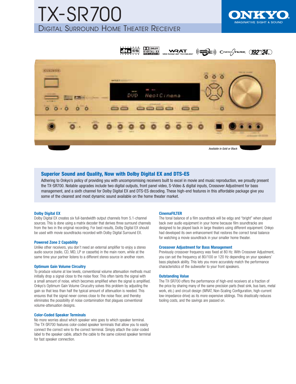 Onkyo Tx Sr700 User Manual 2 Pages Wiring For Speakers In Home Theaters