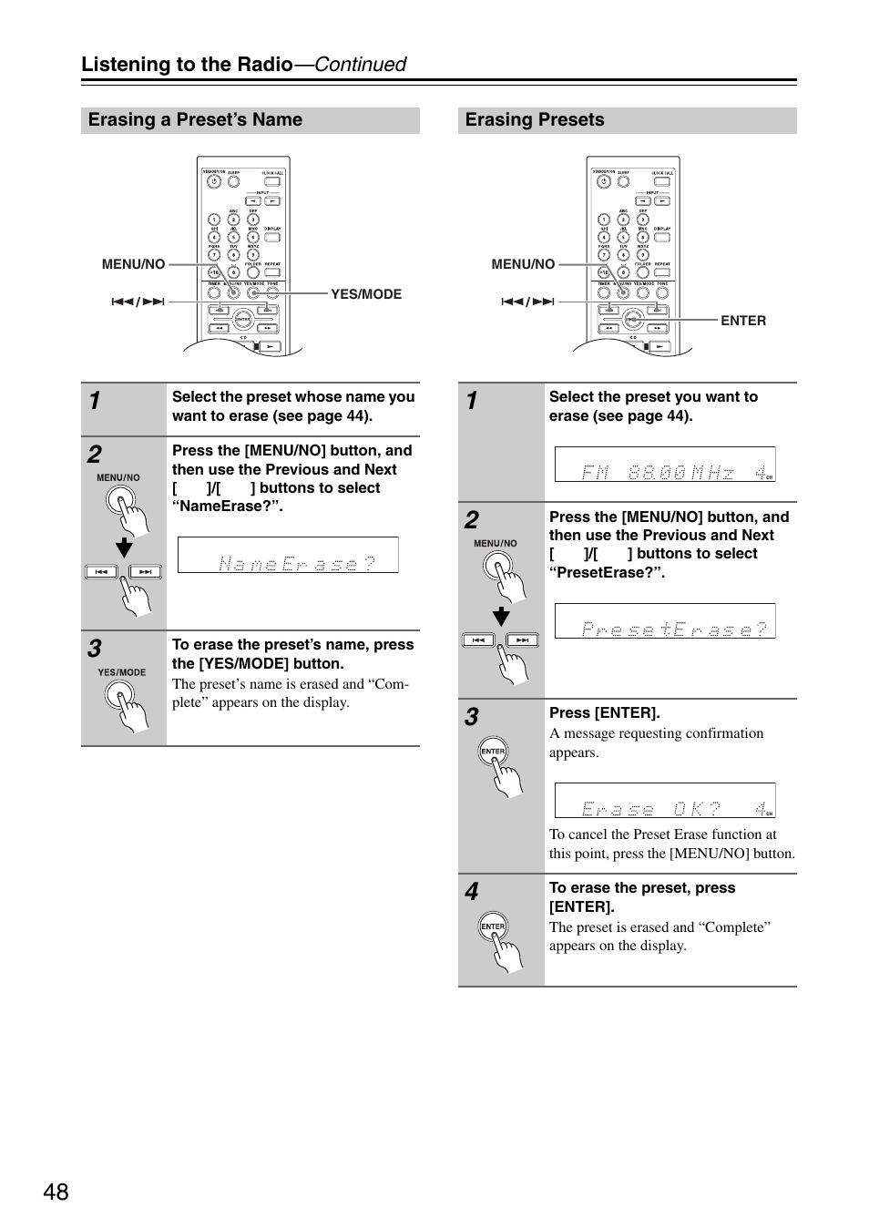 erasing a preset s name erasing presets onkyo cr 325 user manual rh manualsdir com Onkyo CR 325 Manual Onkyo or Denon