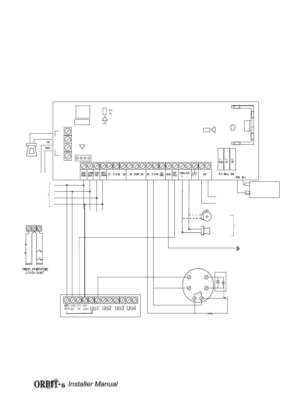 Orbit-6 wiring diagram figure 1b, Installer manual 33, Uo1 uo2 uo3 uo4 |  Orbit Manufacturing Rokonet ORBIT-6 RP-206 User Manual | Page 33 / 37