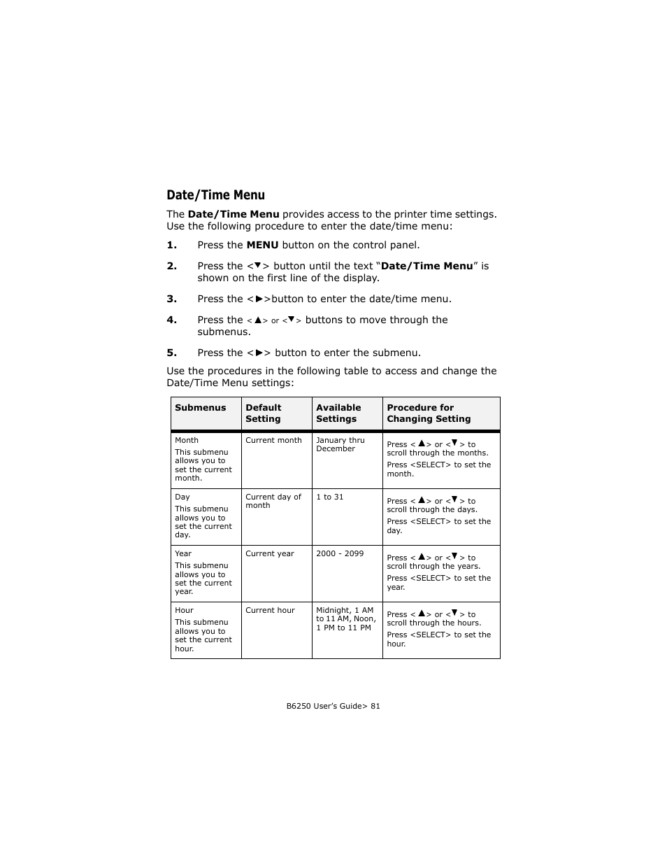 date time menu oki b6250 user manual page 81 136 original mode rh manualsdir com oki user guide oki user guide
