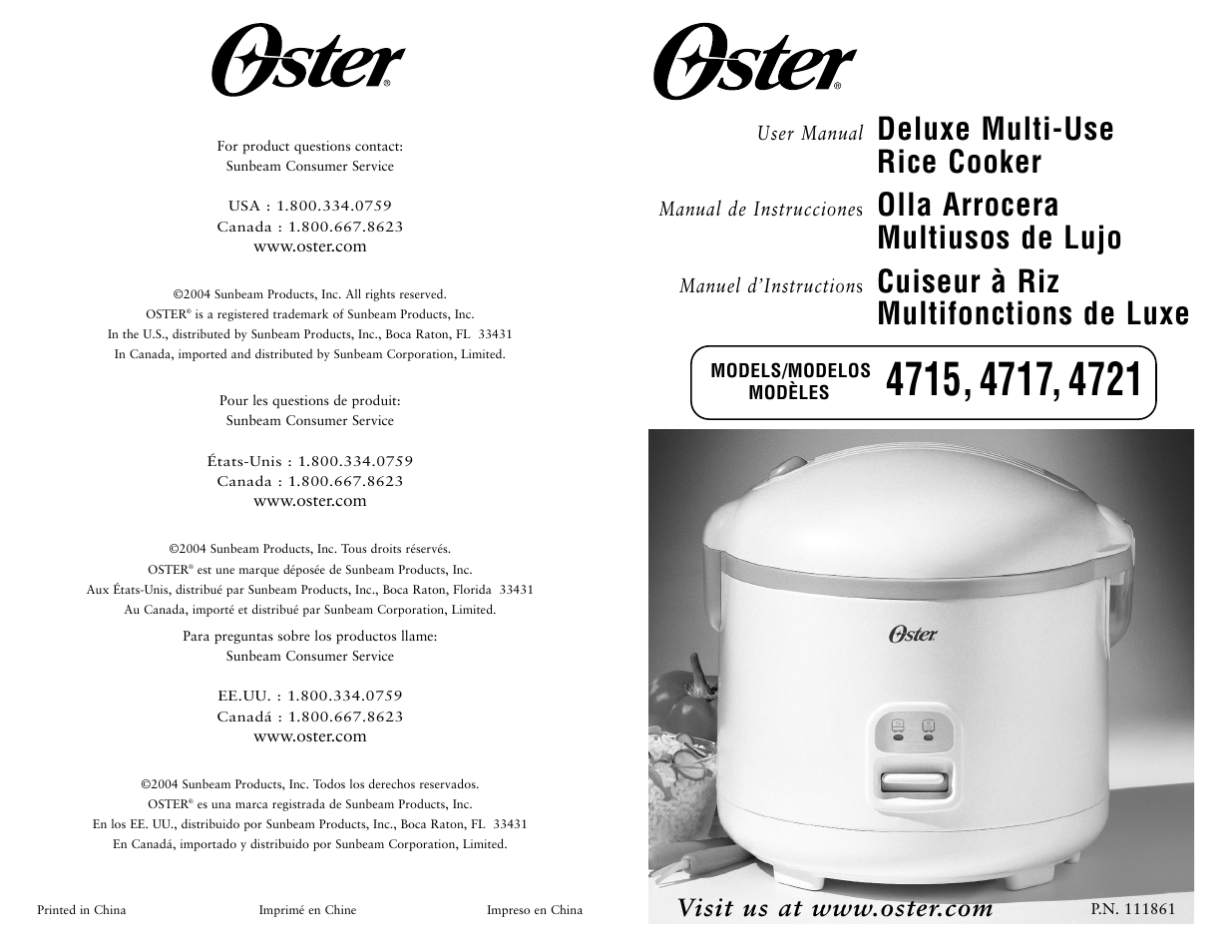 oster 4717 user manual 4 pages also for 4715 4721 rh manualsdir com oster rice cooker model 4715 parts oster rice cooker model 4715 manual