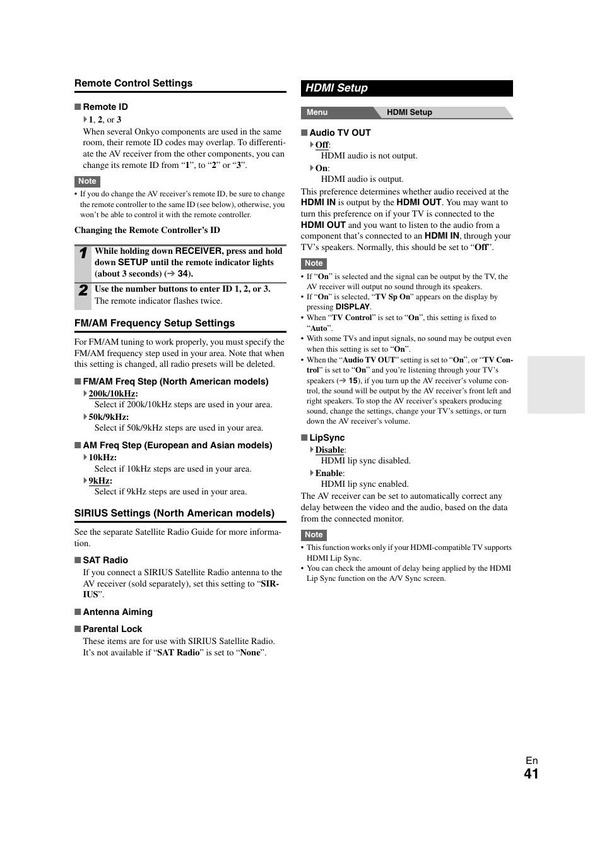 Hdmi setup, 41 ) whe   Onkyo TX-SR508 User Manual   Page 41 / 64
