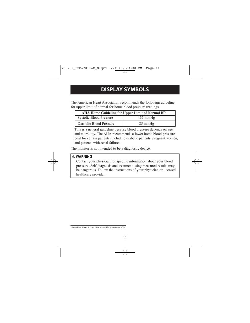 Display Symbols Omron Healthcare Intelli Sense Hem 711ac User