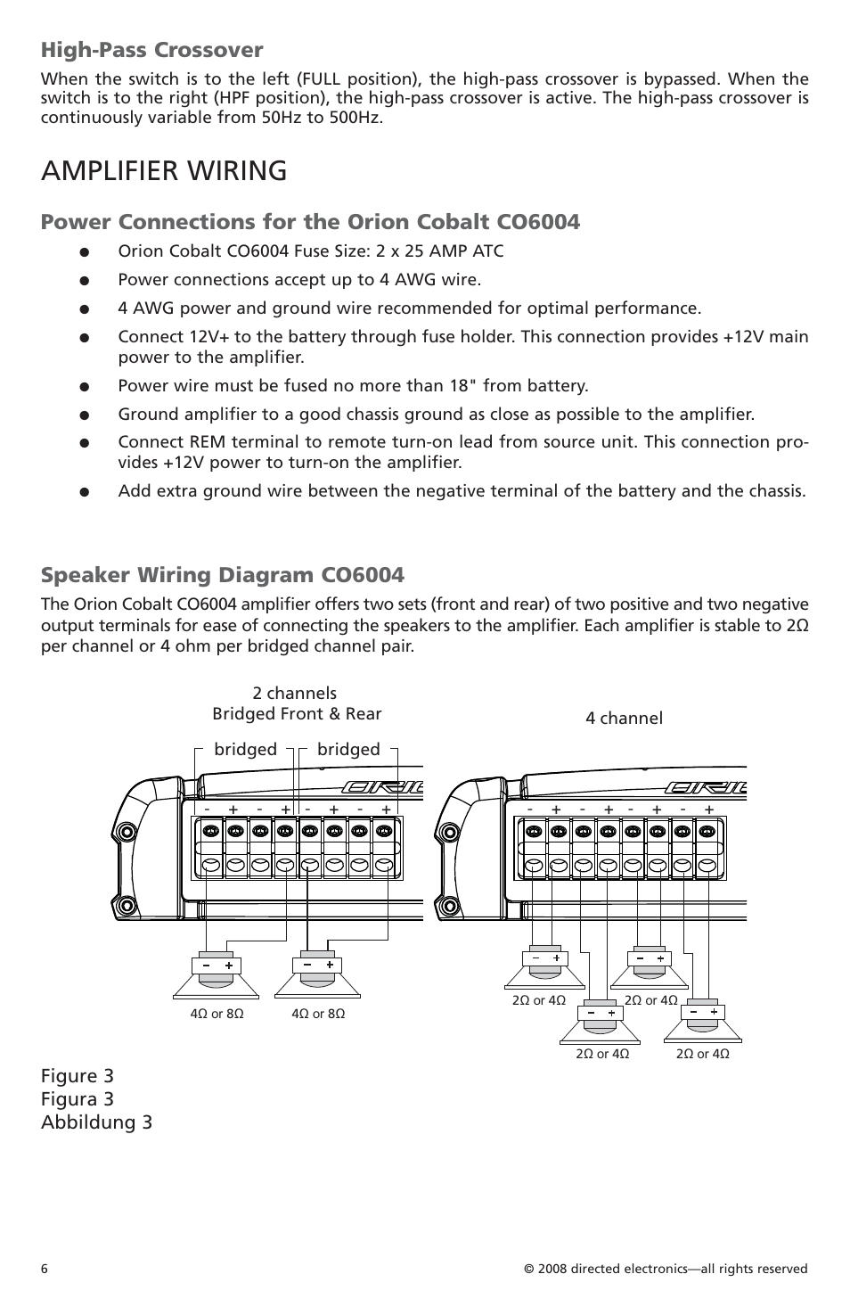 Amplifier wiring, High-pass crossover, Power connections for the orion  cobalt co6004 | Orion Car Audio CO6004 User Manual | Page 7 / 66