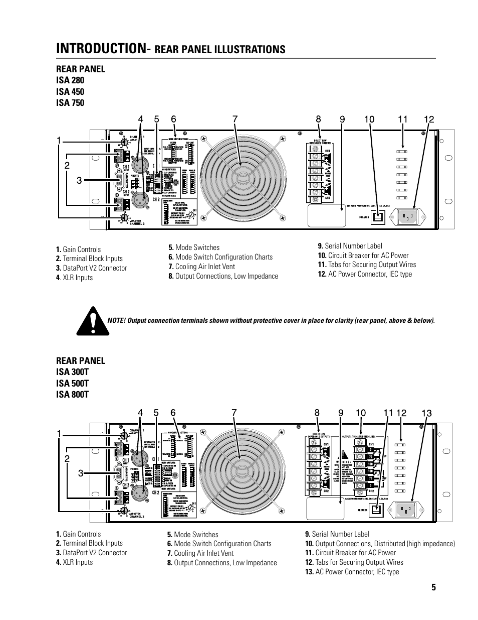 Introduction, Rear panel illustrations | QSC Audio ISA 500T User Manual |  Page 5 / 40