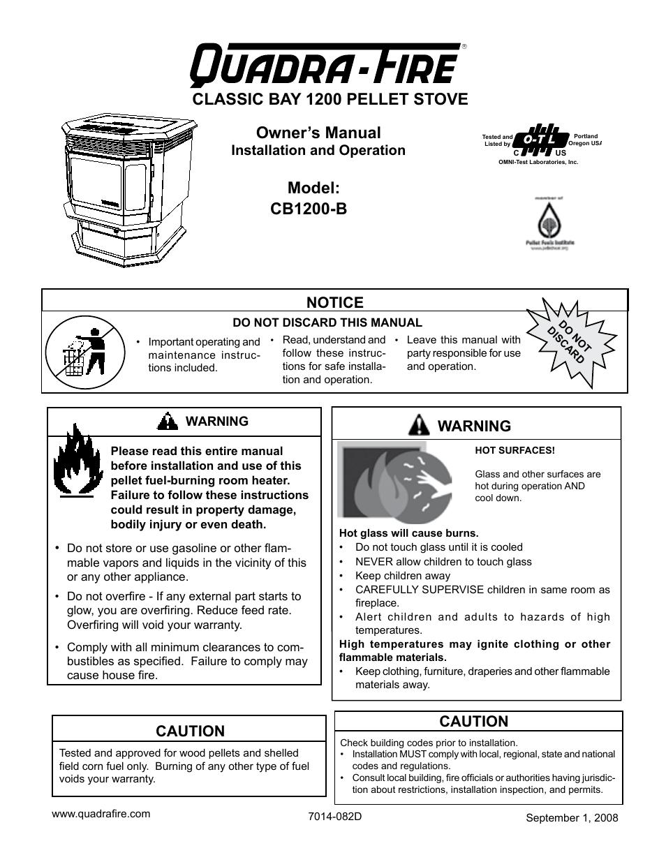 quadra fire pellet stove manual
