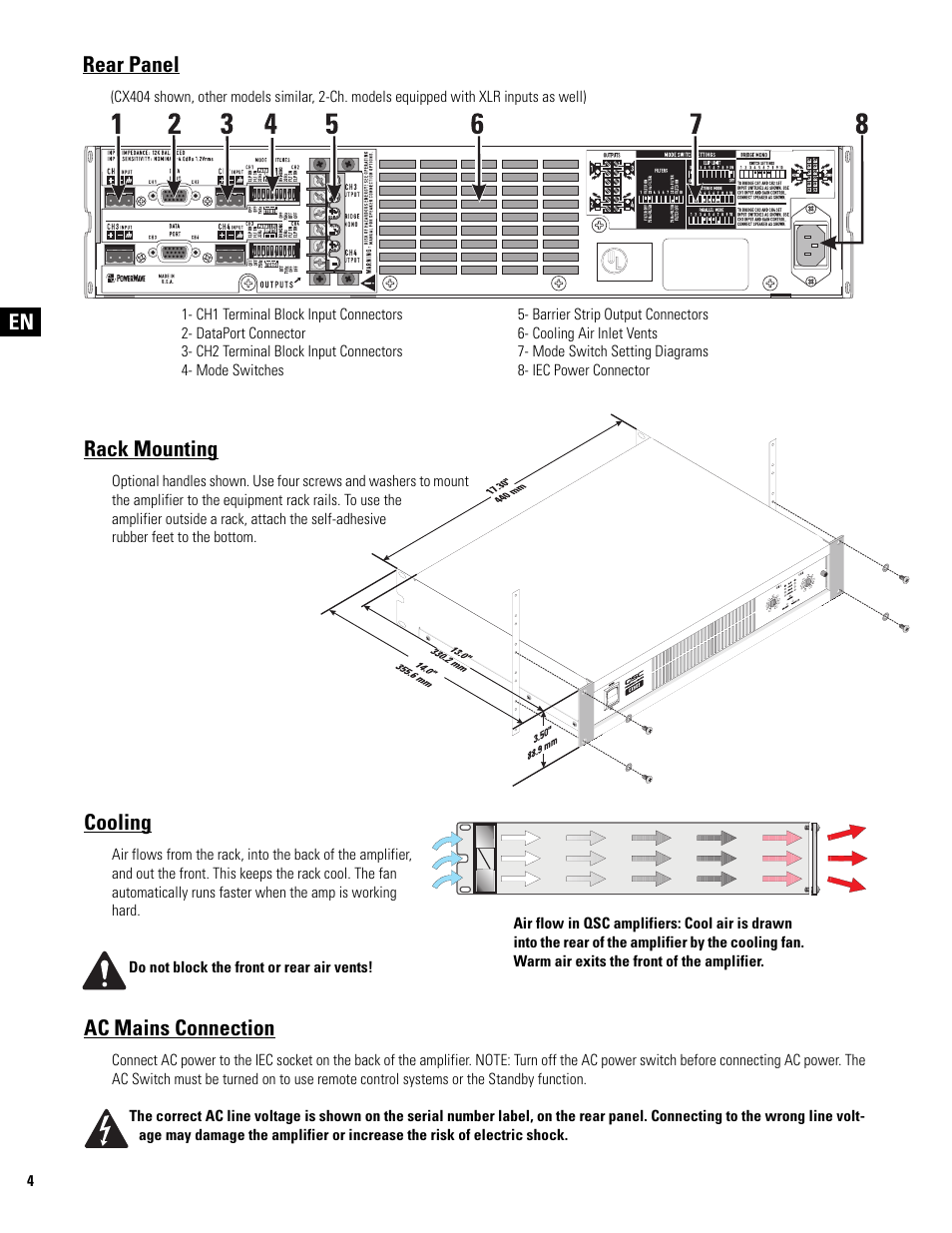 Rack Mounting Cooling Ac Mains Connection Qsc Audio Cx502 User 3 Way Switch Wiring Diagram For Amp Standby Manual Page 4 52