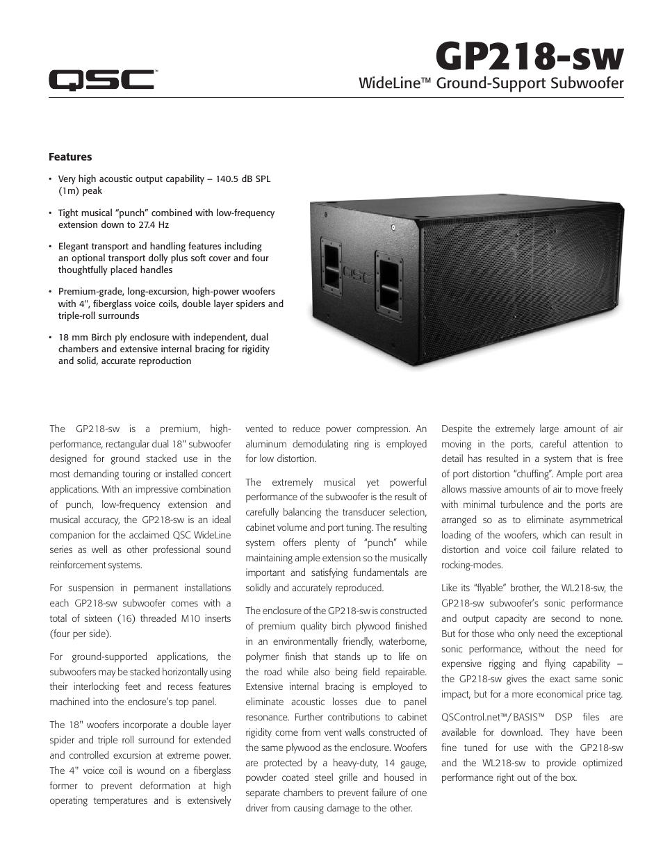 QSC Audio GP218-sw User Manual | 2 pages