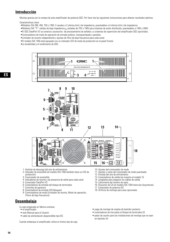 introducci n desembalaje qsc audio isa 500ti user manual page rh manualsdir com QSC K12 Craigslist QSC Amplifiers