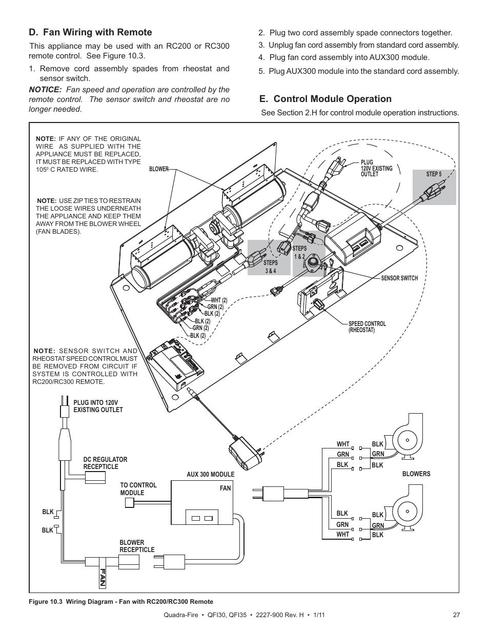 D Fan Wiring With Remote E Control Module Operation Quadra Fire A Rheostat Qf130 User Manual Page 27 41