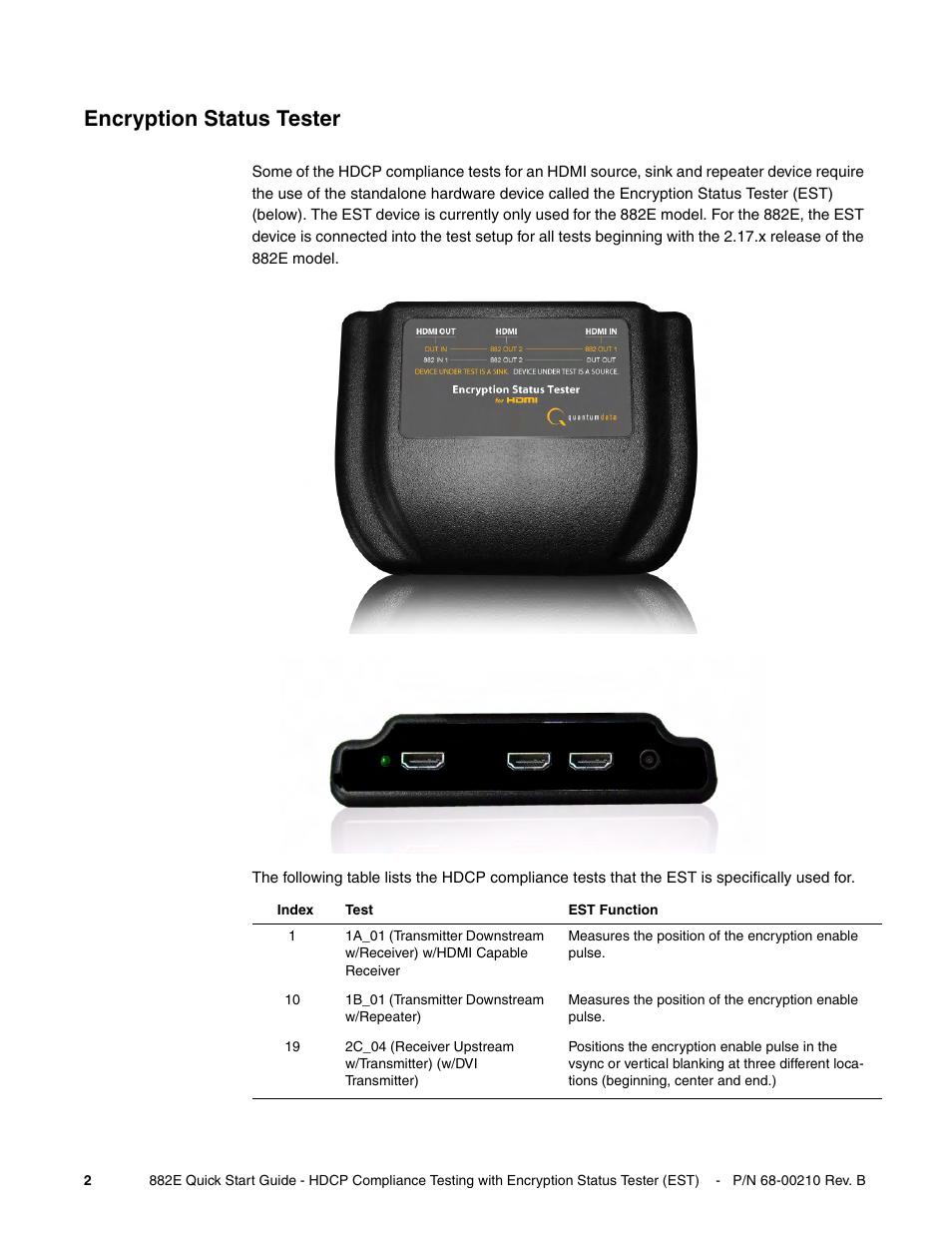 Encryption status tester | Quantum Data 882E User Manual | Page 3 / 48
