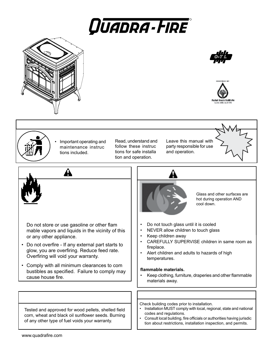 quadra fire mtvernon ae mbk user manual 56 pages. Black Bedroom Furniture Sets. Home Design Ideas