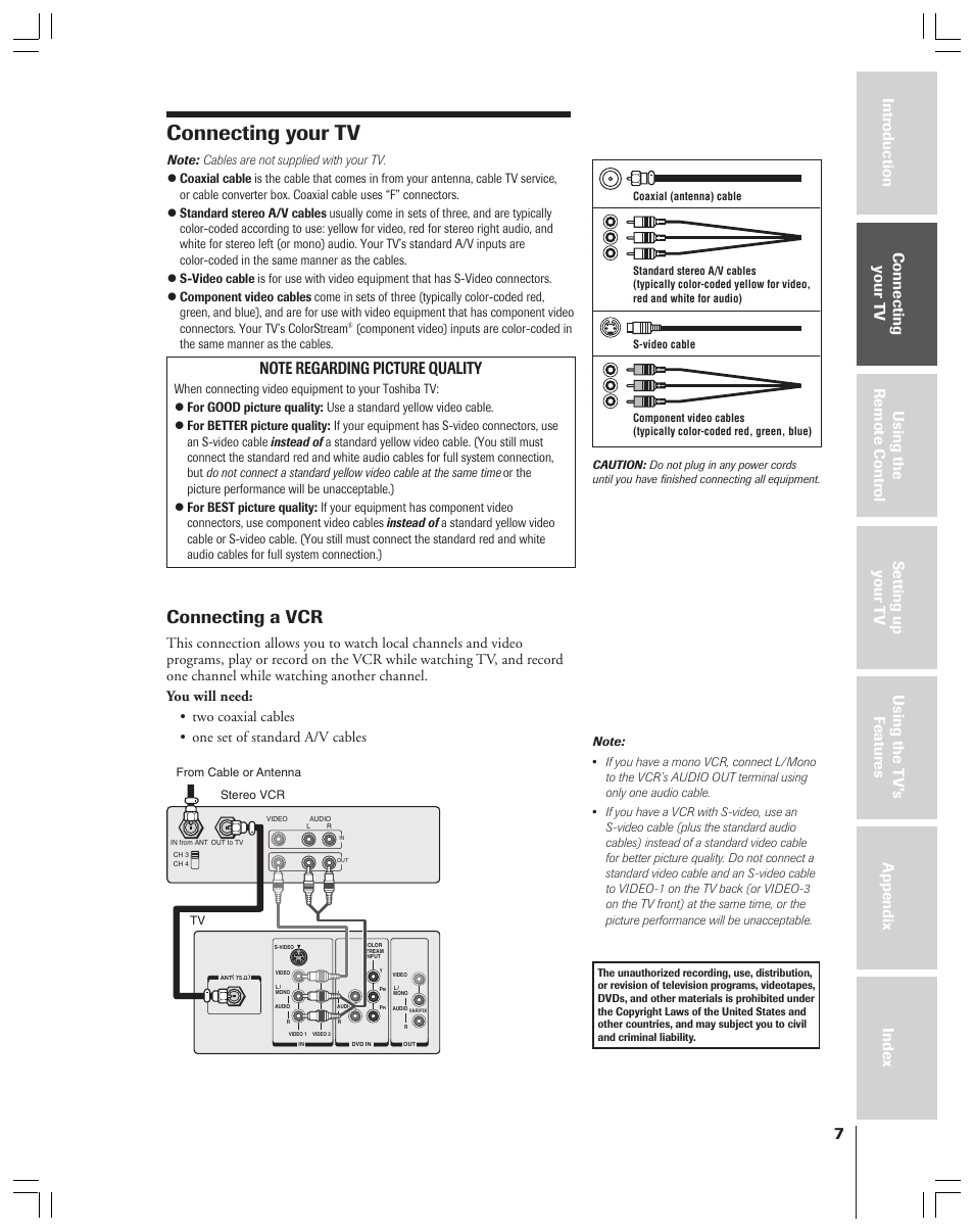 Toshiba 36AFX61 Manuals Source · Connecting your tv Connecting a vcr Toshiba  36AF53 User Manual Page 7 48